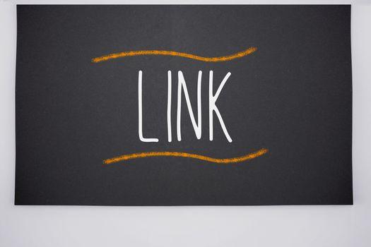 Link written on big blackboard