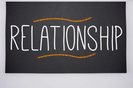 Relationship written on big blackboard