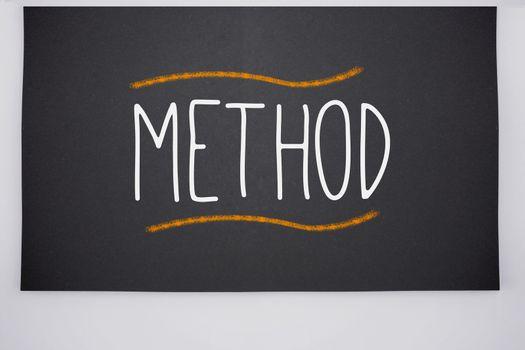 Method written on big blackboard