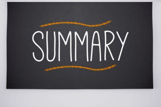 Summary written on big blackboard