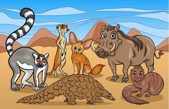 african mammals animals cartoon illustration