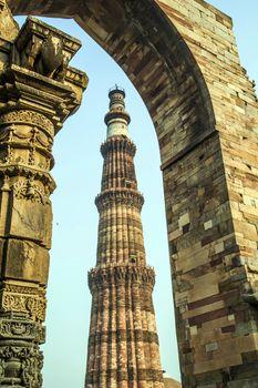 Qutub Minar Tower or Qutb Minar, the tallest brick minaret in the world , Delhi India.