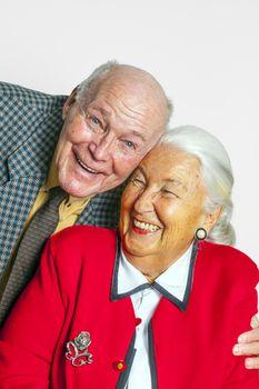 portrait of happy elderly couple enjoying  life