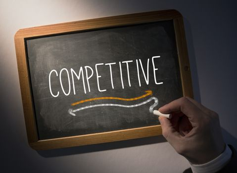 Hand writing Competitive on chalkboard