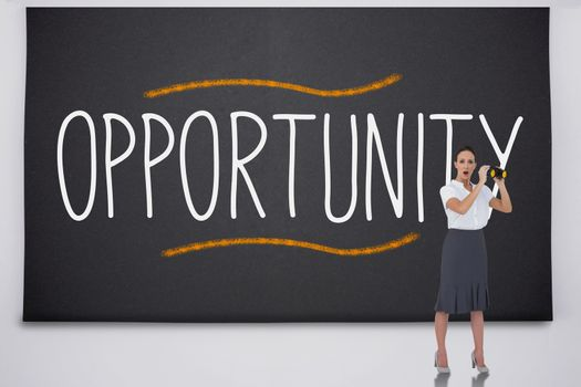 Shocked businesswoman with binoculars against the word opportunity