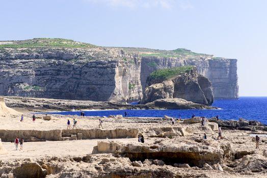 Shore near Azure Window is travel destination on Malta
