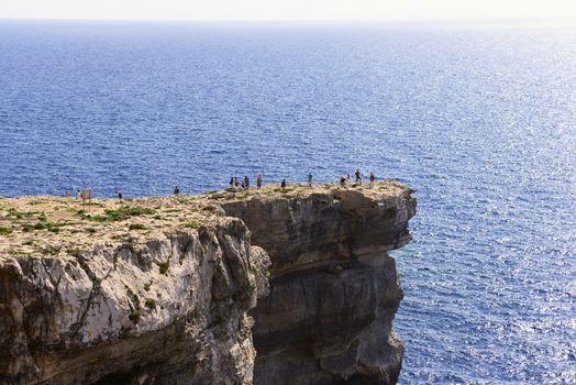 Shore near Azure Window is travel destination on Gozo