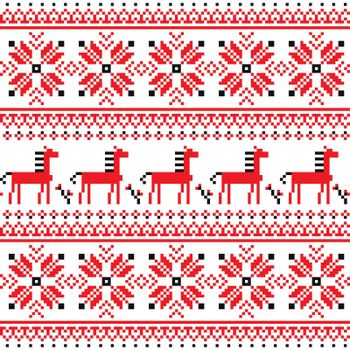 Ukrainian Slavic folk art embroidery pattern with horses