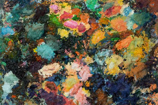 palette with many colors