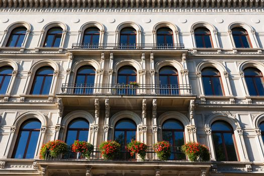 Pan view of beautiful building facade in the city of Leipzig in germany