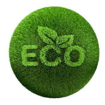 eco symbol grass on the world