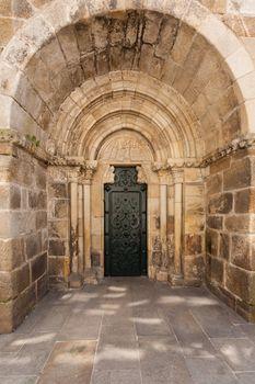 Full view of north door entrance of Santiago church in La Coru��a