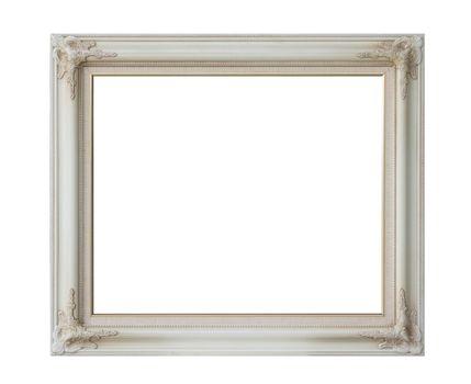 antique white frame isolated on white background