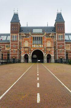 Rijksmuseum main facade vertical view in Amsterdam Holland
