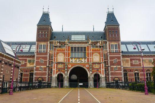 Rijksmuseum main facade  in Amsterdam Holland