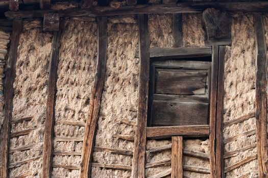 A traditional way of building wall of houses in the north of Spain with wood and mud.