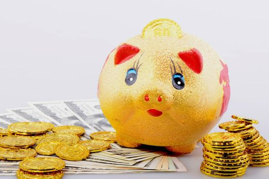 Piggy bank with gold coins and dollar banknotes