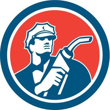 Gasoline Attendant Fuel Pump Nozzle Circle Retro