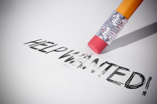 Pencil erasing the word Help wanted!
