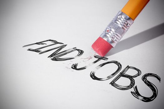 Pencil erasing the word Find jobs