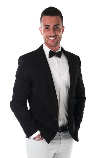 Attractive young businessman with suit and bowtie