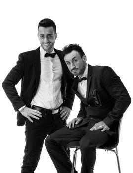 Two elegant men in suit and bowtie