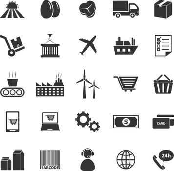 Supply chain icons on white background, stock vector