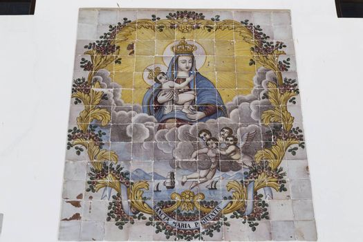 Paintings of the Blessed Virgin Mary on the facade of Church La Puritate  the old town of Gallipoli (Le) in the southern of Italy