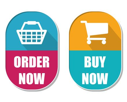 order now and buy now with shopping basket and cart signs, two e