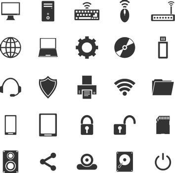 Computer icons on white background, stock vector