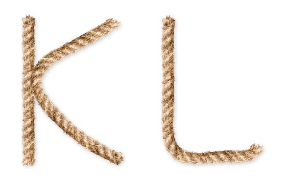 Set of latin rope-characters on white