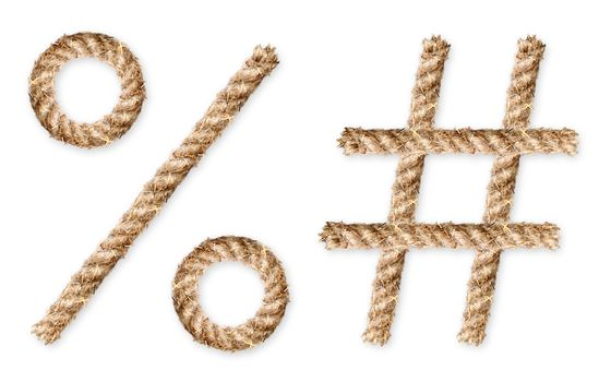 Set of rope-characters on white