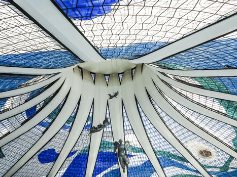 BRASILIA, BRAZIL - OCT 26, 2013: Cathedral of Brasilia in Brasilia, Brazil. It was designed by Oscar Niemeyer, and was completed and dedicated on May 31, 1970.