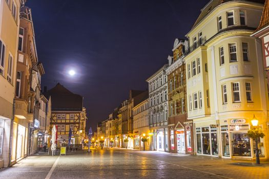 MUEHLHAUSEN, GERMANY - NOV 16, 2013: old city of Muelhausen in Thuringia in moonshine, Germany. Muhlhausen is the city where the famous farmer war in 1524 started.