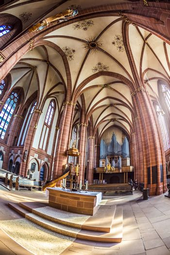 WETZLAR, GERMANY - JULY 3, 2014: beautiful ceiling and hall in the dome in Wetzlar, Germany.Wetzlar Cathedral has been used by both Roman Catholics and Protestants since the 16th century.