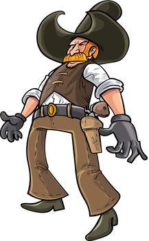 Cartoon cowboy ready to draw his gun