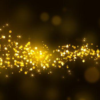 gold glittering stars tail dust