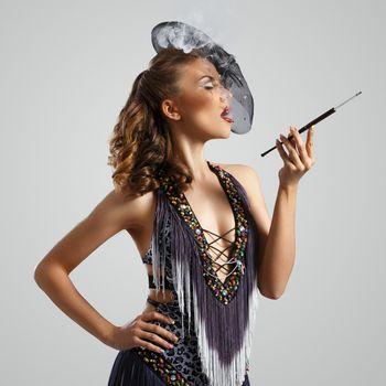 Burlesque. Attractive girl in beautiful dress