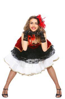 Burlesque. Attractive dancer on heels