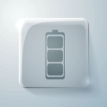 charged battery. Glass square icon
