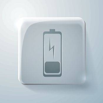 discharged battery. Glass square icon