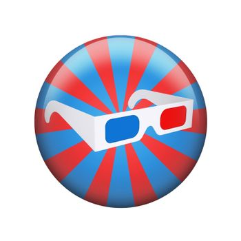 Stereo glasses. Spherical glossy button