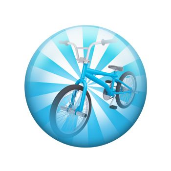 Blue bicycle. Spherical glossy button