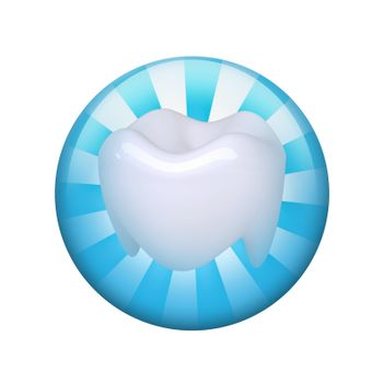 Human tooth. Spherical glossy button