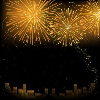 Fireworks - Background Illustration, Vector