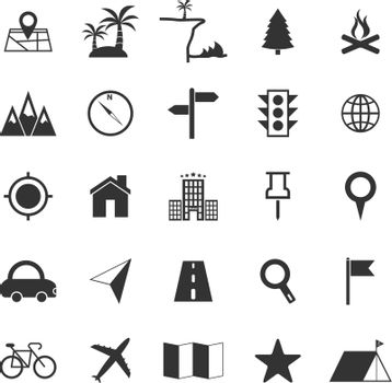 Location icons on white background, stock vector
