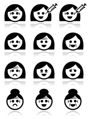Women aging - wrinkles, Botox injections icons set