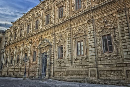 The Palace of the Province in the old town of Lecce in the southern of Italy: built in 1352 as Convent of the Celestine Fathers is a great baroque monument