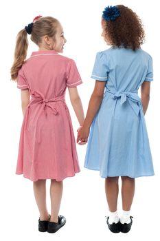 Back view of girls in school uniform