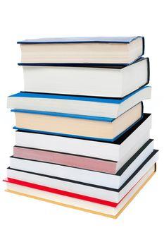 Pile of books, closeup shot